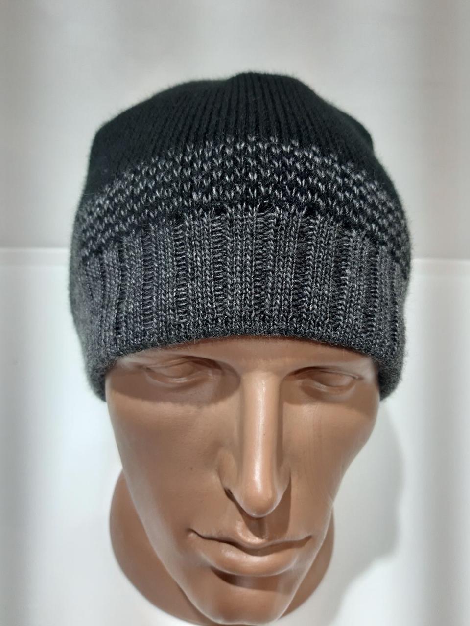 Зимняя мужская шапка на флисе темно-серая