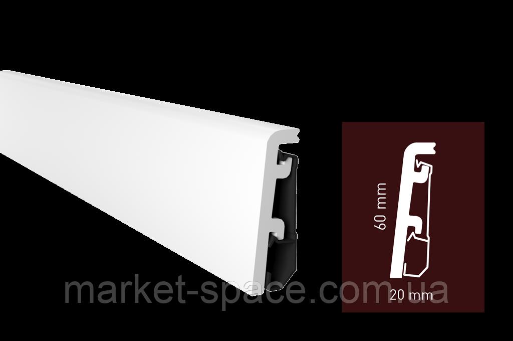 Плинтус Arbiton VEGA P0610 напольный белый под покраску (60x20x2400)