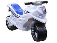 Детский беговел мотоцикл-каталка полиция Орион 501-1W транспорт для детей толокар-мотоцикл цвет белый