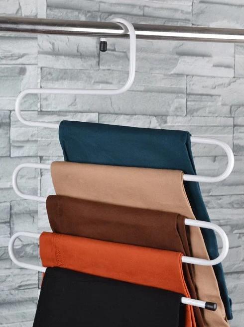 Многоуровневая вешалка для одежды, полотенец белая, металлическая вешалка в ванную | вішак для одягу