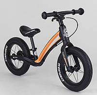 """Велобег детский двухколесный с изогнутой рамой и ручным тормозом Corso """"Prime C7"""" 84209, черно-оранжевый"""