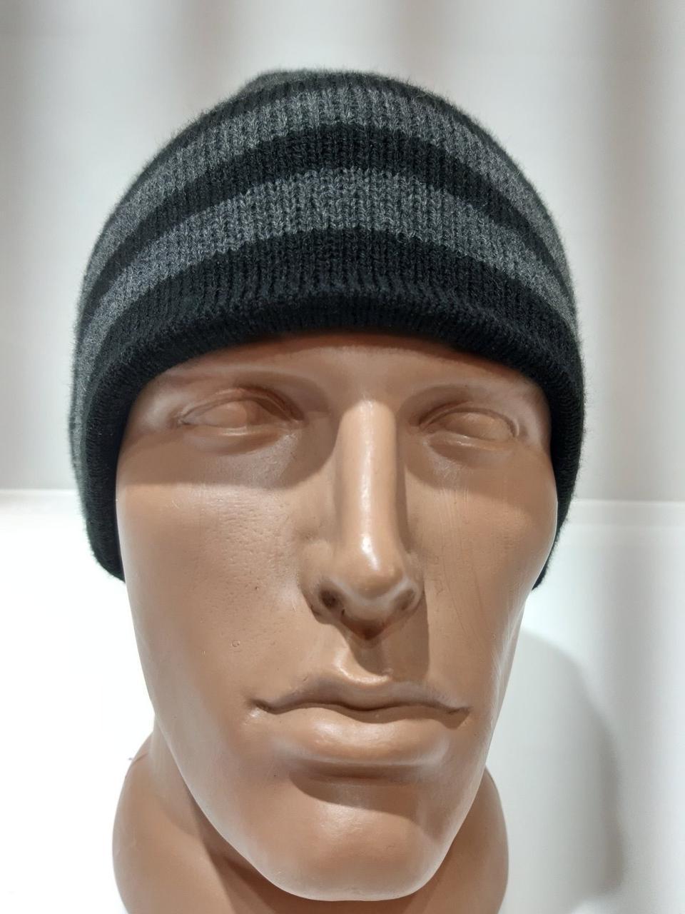 Зимняя мужская шапка на флисовой подкладке темно-серая