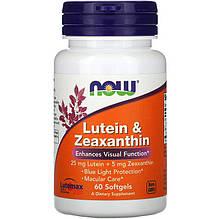 """Лютеїн і зеаксантин NOW Foods """"Lutein & Zeaxanthin"""" відновлення зорової системи (60 гельових капсул)"""