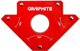 Зварювальний кутник магнітний Verto GRAPHITE 56H903, 122 x 190 x 25 мм, кут 45 або 90 град., сила 34