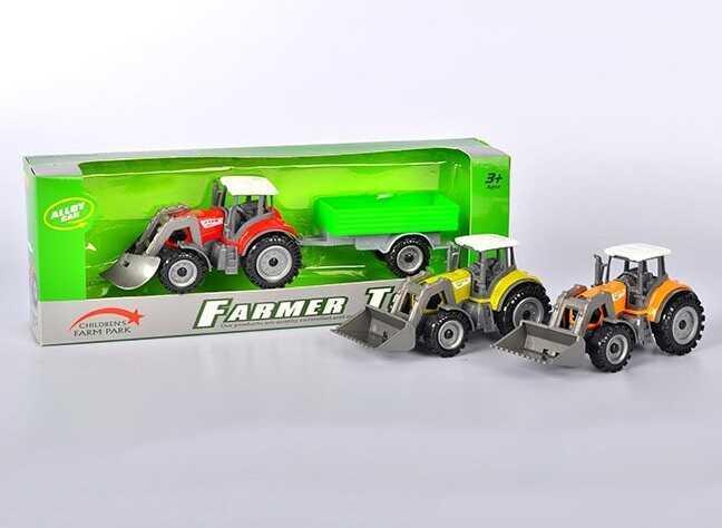 Трактор металлопластик с прицепом FC 17-47 (120) в коробке, 3 цвета