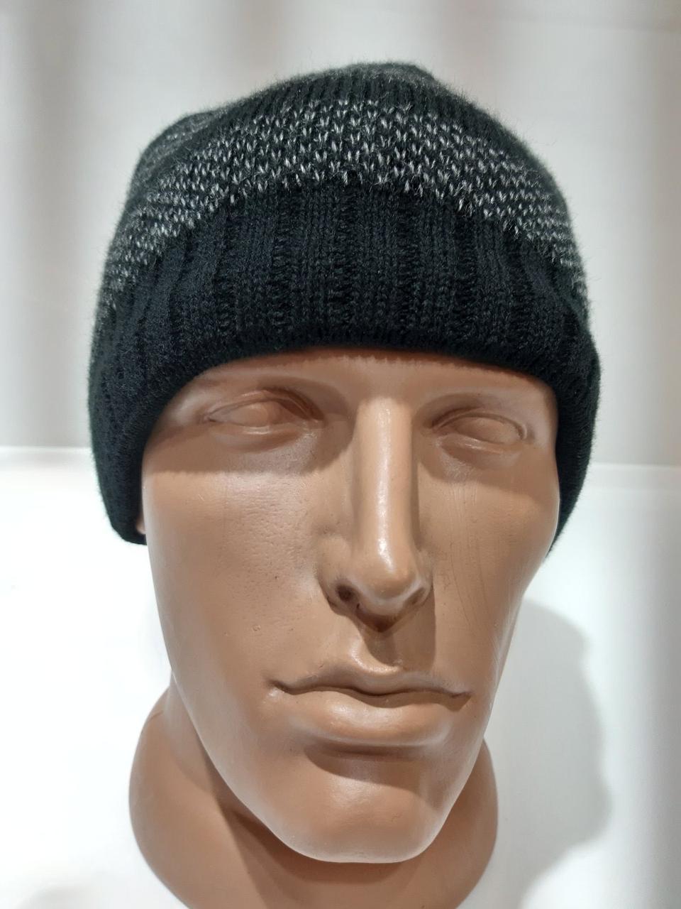 Зимняя мужская шерстяная шапка на флисовой подкладке темно-серая