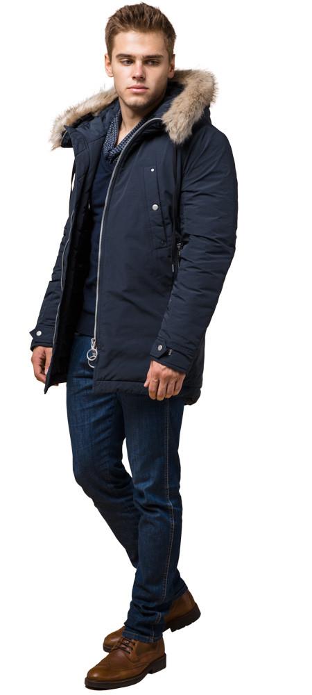 Синя парку чоловіча зимова з кишенями модель 15231 розмір 54 (XXL)