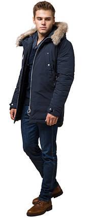 Синя парку чоловіча зимова з кишенями модель 15231 розмір 54 (XXL), фото 2