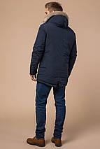 Синя парку чоловіча зимова з кишенями модель 15231 розмір 54 (XXL), фото 3