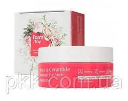 Гидрогелевые патчи для кожи вокруг глаз FarmStay Rose & Ceramide увлажняющие с розой и керамидами 60 шт