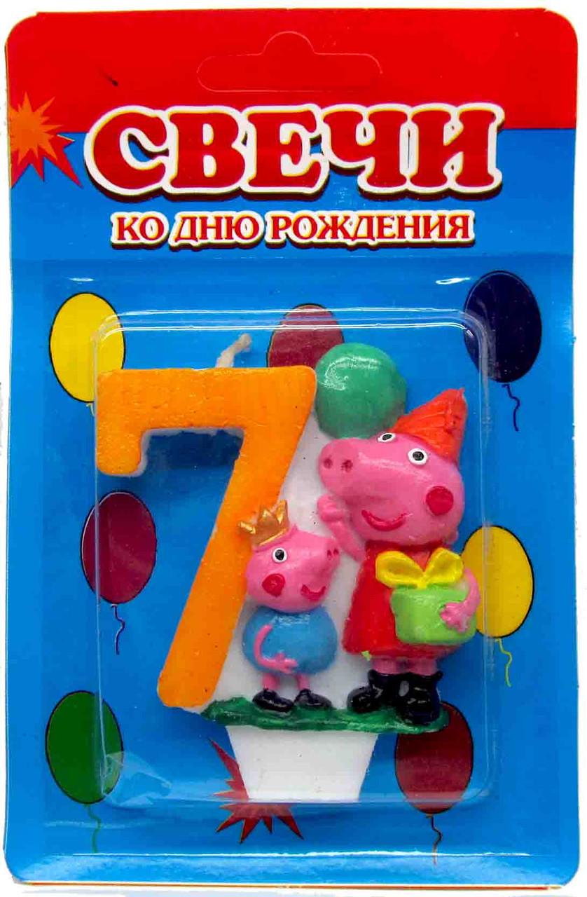 """Свеча в торт """"Свинка Пеппа"""" 7"""