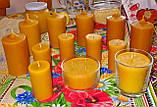Цилиндрическая восковая свеча D60-95мм из натурального пчелиного воска, фото 4
