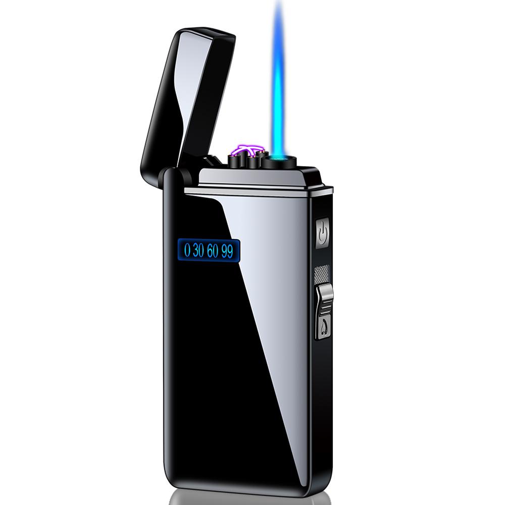 Двойная USB зажигалка. Газовая турбо+USB зажигалка Turbo black 107-1