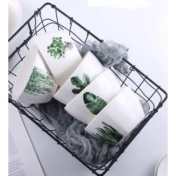Тарелки керамические для супа, супницы с рисунками растений, 6 видов