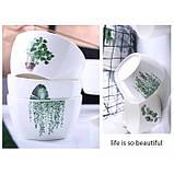 Тарелки керамические для супа, супницы с рисунками растений, 6 видов, фото 3