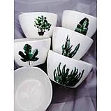 Тарелки керамические для супа, супницы с рисунками растений, 6 видов, фото 5