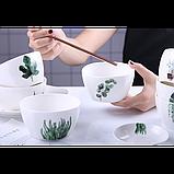 Тарелки керамические для супа, супницы с рисунками растений, 6 видов, фото 6