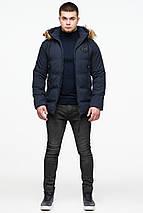 Синя коротка куртка зимова молодіжна для чоловіків модель 25550 розмір 48 (M), фото 3