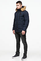 Синя коротка куртка зимова молодіжна для чоловіків модель 25550 розмір 48 (M), фото 2