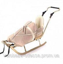 Санки Adbor Piccolino DeLux (спальный мешок Alaska, спинка, капюшон, ручка, муфта, подножка, ремешок) золотой