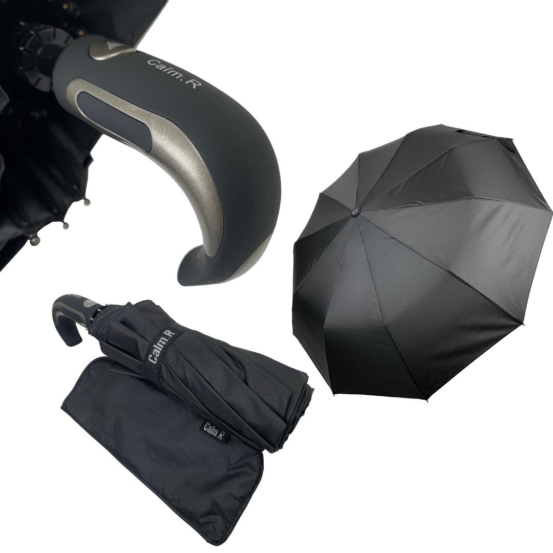 """Мужской складной зонт-полуавтомат на 10 спиц с системой """"антиветер"""" от Calm Rain, черный, 347-1"""