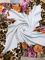 Шерстяной белый платок с цветочным и леопардовым рисунком - купить на Kosinka.net