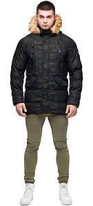 Модная куртка зимняя тёмно-зелёная мужская модель 25450