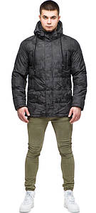 Трендовая зимняя мужская куртка тёмно-серая модель 25460
