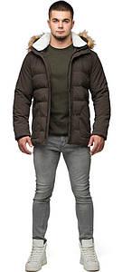 Трендовая мужская зимняя куртка кофейная модель 25780