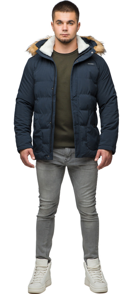 Темно-синя молодіжна куртка зимова для чоловіків модель 25780 розмір 46 (S)