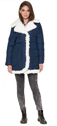 Женская куртка оригинального дизайна зимняя синяя модель 2162, фото 2