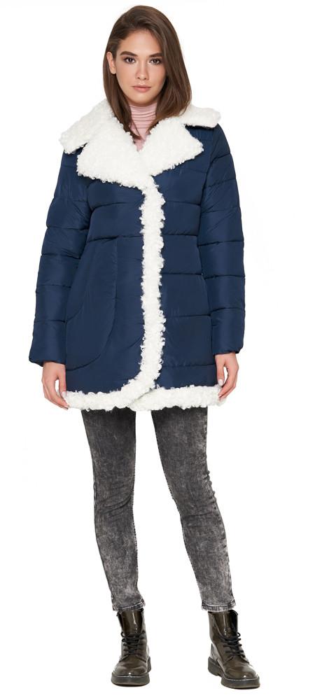 Женская куртка оригинального дизайна зимняя синяя модель 2162