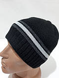 Мужская шерстяная шапка на флисе зимняя черная, фото 7
