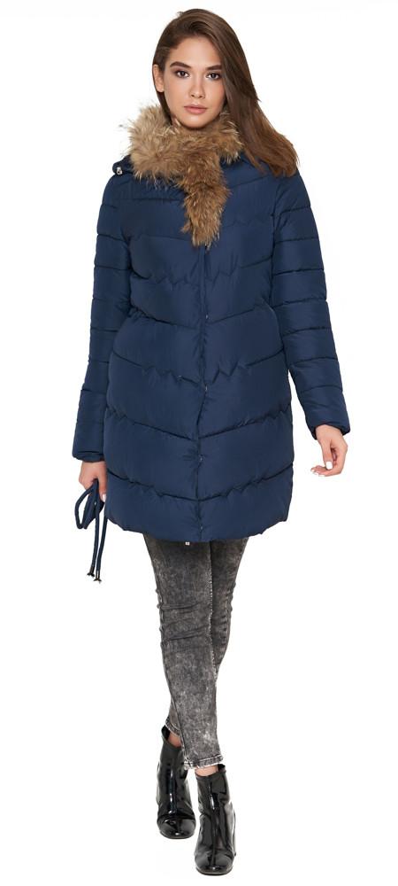 Куртка синяя женская зимняя качественного пошива модель 9087 (ОСТАЛСЯ ТОЛЬКО 44(XS))