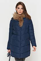 Куртка синяя женская зимняя качественного пошива модель 9087 (ОСТАЛСЯ ТОЛЬКО 44(XS)), фото 2