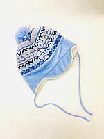 Шапка зимова для хлопчика на зав'язках Польща блакитна 702