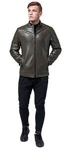 Модная куртка на мужчину осенне-весенняя цвет хаки модель 4129