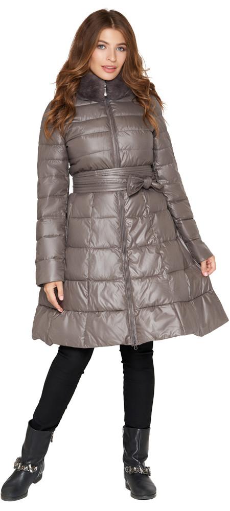 Куртка серая женская на молнии осенне-весенняя модель 7319