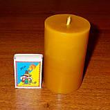Цилиндрическая восковая свеча D60-95мм из натурального пчелиного воска, фото 3