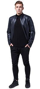 Модная осенне-весенняя мужская куртка тёмно-синего цвета модель 4129