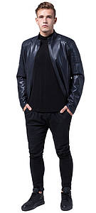 Темно-синя куртка осінньо-весняна чоловіча молодіжна модель 4129 розмір 50 (L)