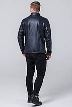 Современная мужская осенне-весенняя куртка тёмно-синего цвета модель 2825 (ОСТАЛСЯ ТОЛЬКО 50(L)), фото 3