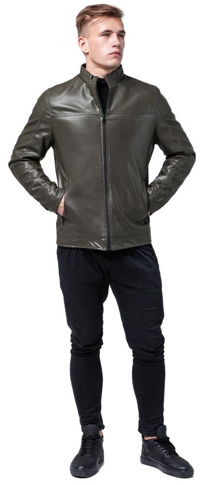 Осінньо-весняна чоловіча коротка куртка молодіжна кольору хакі модель 2825 розмір 50 (L)