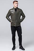 Осінньо-весняна чоловіча коротка куртка молодіжна кольору хакі модель 2825 розмір 50 (L), фото 2
