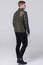 Осінньо-весняна чоловіча коротка куртка молодіжна кольору хакі модель 2825 розмір 50 (L), фото 3