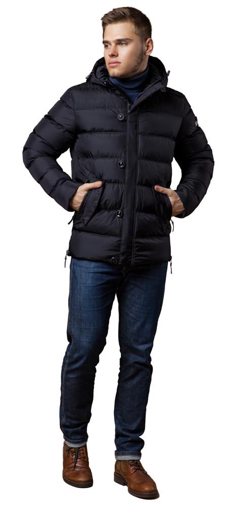 Зимняя черная мужская куртка модная модель 20180 (ОСТАЛСЯ ТОЛЬКО 46(S))