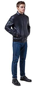 Качественная куртка из экокожи тёмно-синяя модель 1588