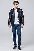 Качественная куртка из экокожи тёмно-синяя модель 1588, фото 3