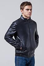 Качественная куртка из экокожи тёмно-синяя модель 1588, фото 2
