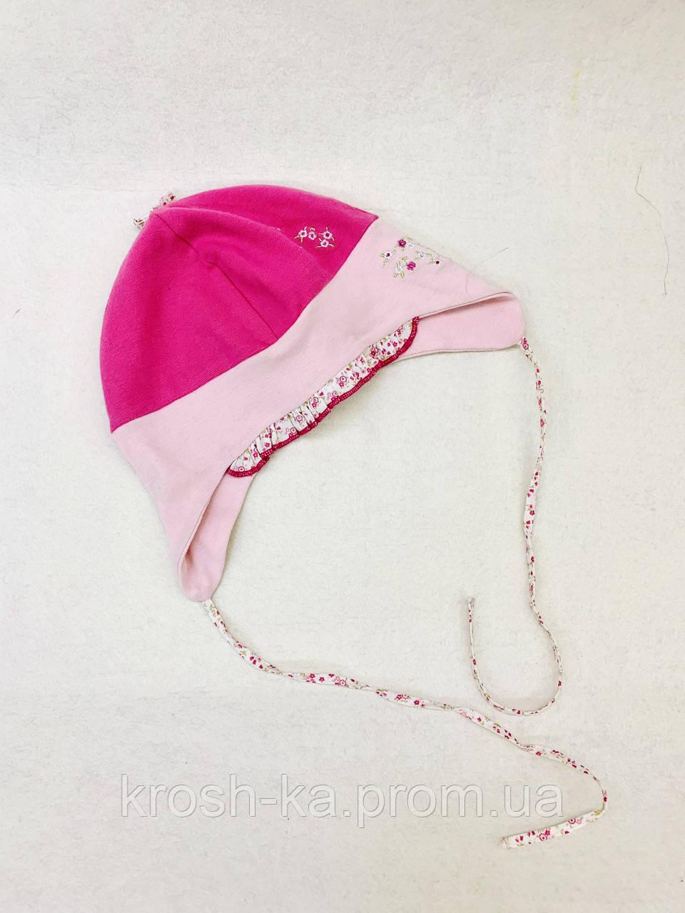 Шапка для девочки (50)р на завязках трикотажная розовый Dominka Польша 36587
